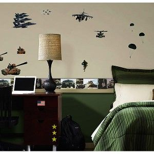 12 Vinyl Sticker Wall Border ARMY Wallpaper Room Decor NAVY TANK CAMO
