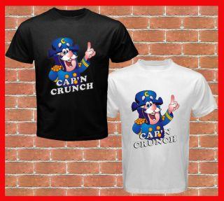 CapN Crunch Cereal Captain Classic Logo Mens Black N White T Shirt s