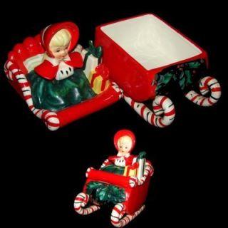 Cookie Sweet Jar Shopper Girl on Candy Cane Sleigh Christmas