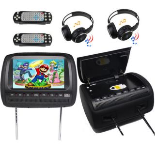 Black Two 9 Car Pillow Headrest DVD Player Radio Monitor 2X Headphone