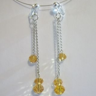 Clip on Champagne Faceed Glass Crysal 2 5 Dangle Earrings J321