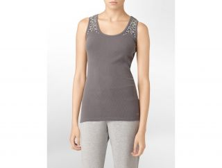 Calvin Klein Womens Performance Studded Ribbed Tank Top