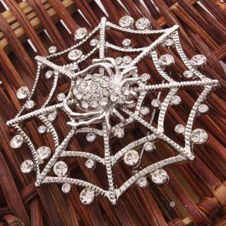 New Unique Crystal Rhinestone Spider Web Shape Brooch