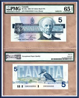 Birds of Canada Solid Serial Radar Note 3333333 1986 $5 PMG Gem UNC65