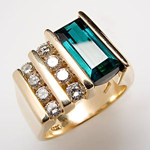 Carat Indicolite Tourmaline & VS Diamond Cocktail Ring Solid 14K Gold