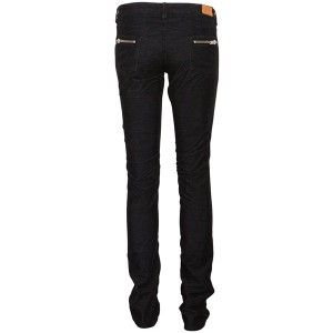 Etoile Isabel Marant Ivoi Slim Fit Zip Corduroy Black Trousers Jeans