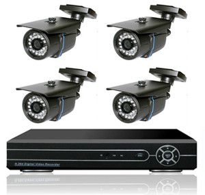 Security System 4 Camera Sony High Resolution 700TVL DVR Home Business