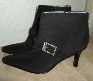 CARLOS SANTANA Black Rhinestone Ankle Boots DIVA High Heels size 7 5 M