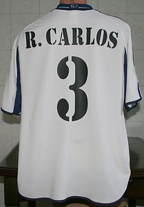 2000 2001 R Carlos 3 Real Madrid Home Shirt Adidas Teka Size XL