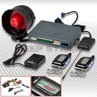 Way Car Security Alarm System Set Kit w Siren LCD Pager Engine Start