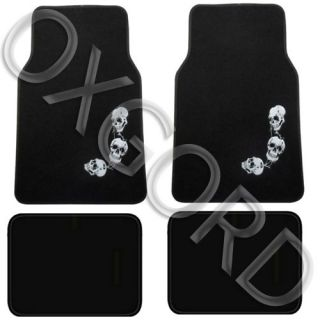 Skull Carpet Design Mat 4 PC Pads Liner Car Floor Mats Fit Std