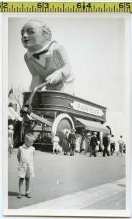 1933 Chicago Worlds Fair photo / Huge Radio Flyer Wagon & Goliath Boy