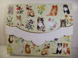 Carol Wilson Fine Arts 10 Note Card Stationery Cats Flowers NIB