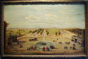 Century Italian Garden Landscape Antique Oil Painting Canaletto