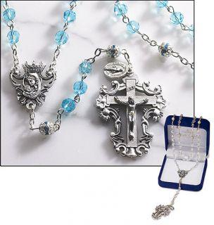 Catholic Aqua Blue Diamond Cut Crystal Rosary Special Cross and Center