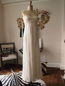 Carlos Miele Milky White Silk and Beaded Long Dress