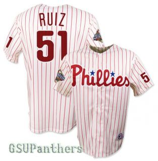 Carlos Ruiz Philadelphia Phillies 2008 World Series Home Jersey Sz M