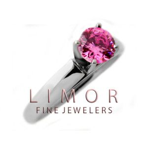 50 Carats Pink Sapphire Engagement Ring 14k White Gold
