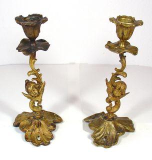 Cherubs Angels Cupid Candlesticks Gilt Brass Pair Vintage Antique