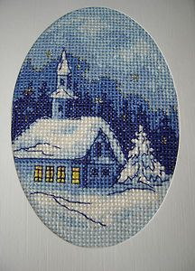 Finished Completed Cross Stitch Greeting Card in The Night of