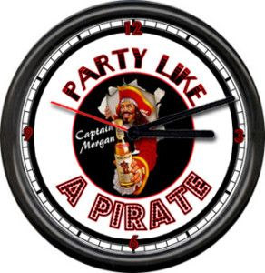 Captain Morgan Rum Party Like A Pirate Sign Wall Clock