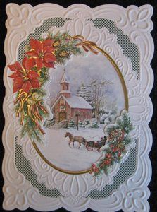 CAROL WILSON FINE ARTS CHRISTMAS GREETING CARD CHURCH WINTER SCENE
