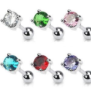 Steel Ear Cartilage Helix Tragus Piercing Jewelry 5mm Round CZ 16G