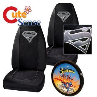 Super Man 7pc Car Seat Cover Accessories Interior Set