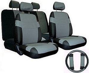 Car Seat Covers GREY BLACK SET w/ Steering Wheel Cover Bonus pkg FREE