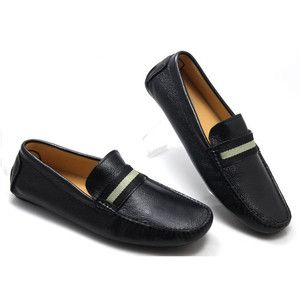 Genuine black leather slip on penny loafer men car shoe business shoes