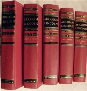 Abraham Lincoln by Carl Sandburg vint Scribners 5 Vol Set Sangamon Ed