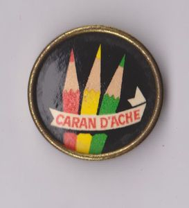 Vintage Caran DAche Pencils Crayons Pin Badge 1960s Logo