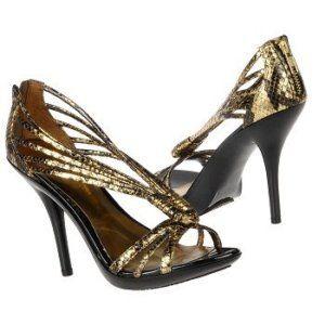 Carlos Santana Black Gold Shoe Sandal Glint