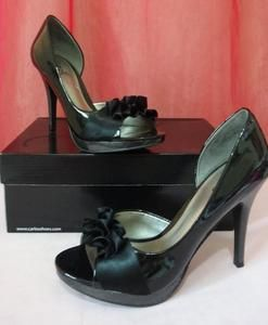 CARLOS SANTANA PRETTY BLACK OPEN TOE HEELS SHOES PUMPS EUC SIZE 7
