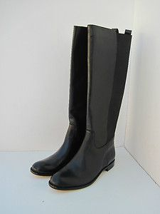New Authentic Coach Carrieann Black Soft Leather Small Heels Boots 8
