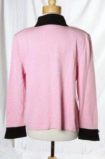 St John Collection Carnation Pink Black Accents Santana Knit Jacket Sz