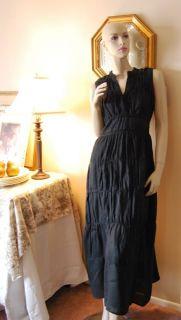 Carole Little Black 100 Linen Tiered Maxi Dress 6