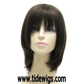 Capless Medium Long Black Silky Straight 100 Human Hair Wig