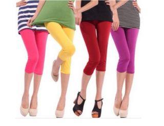 Capri Leggings Summer Colors Cute for Short Skirt Dress Girls Footless