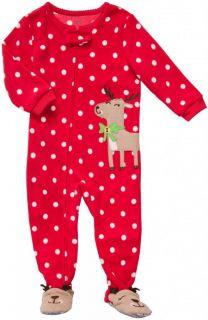 Carters Toddler Reindeer Christmas Footed Sleeper PJ Microfleece