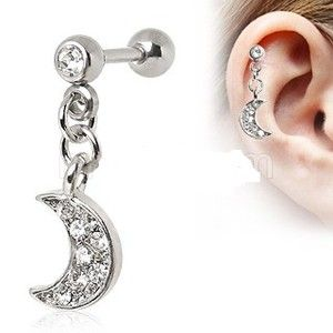 Cartilage Ring Tragus Crescent Moon Dangle Piercing Earring