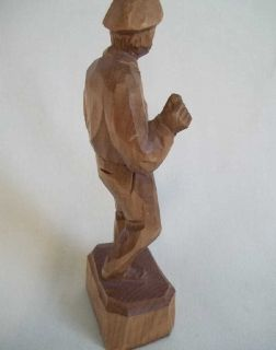 Caron detailed wood hand carving of a fisherman. Missing fishing pole.