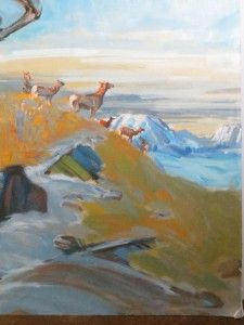 Original Caribou Reindeer Oil Painting Signed Richard Ward 36 x 88