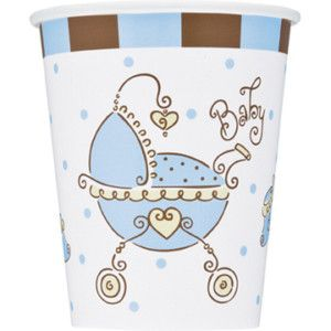 Shower Blue and Brown Blue Baby Shower Baby Boy Carriage Cups