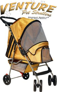 Yellow Folding Dog Stroller Carrier Pet Strollers Dogs PS 02 Yellow