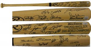 2005 Chicago White Sox Team Signed Engraved Big Stick Bat w 27
