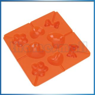 Heart & Flower Shape Silicone Lollipop Candy Chocolate Jelly Mold Tray
