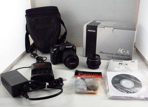 Pentax K x Digital Camera 2 lenses case memory charger 50mm lens