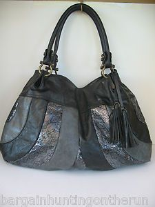 CARLOS BY CARLOS SANTANA STUNNING BLACK *SILVER*GRAY LEATHER HOBO