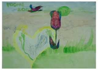 Flower & Bird painting known artist oil pastel on paper beautifully
